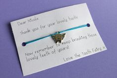 Tooth Fairy Present Bracelet Tooth Fairy, Travel Gifts, Kid Names, Teeth, Alternative, My Etsy Shop, Greeting Cards, Presents, Messages