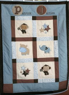 Custom Made Personalized Baby Quilt Jungle animals