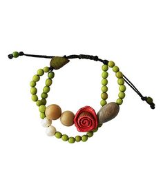 Look what I found on #zulily! Pearl & Apple Green Floral Adjustable Bracelet…
