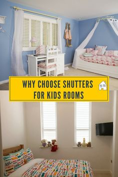 shutters for kids rooms. Have a look at why the guys at plantation shutters think that shutters are good for kids rooms. Easy to clean, cordless, great day light blockers and look pretty too Shutters With Curtains, Bedroom Shutters, Bedroom Windows, Twin Girl Bedrooms, Twin Girls, Kids Bedroom, Kids Rooms, Bedroom Ideas, Moving House