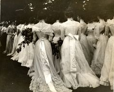 Seniors gather on the lawn for Class Day (the last time before graduation that the class meets as a group) at Vassar College, 1895.