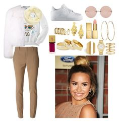 #Demi Lovato #Air Force One by mackenzie-swagg on Polyvore featuring mode, Yves Saint Laurent, Gucci, NIKE, Stephanie Kantis, Sole Society, Fendi, Lana, DailyLook and H&M