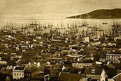 San Francisco harbor (Yerba Buena Cove), 1850 or with Yerba Buena Island in the background. Between 1847 and the population of San Francisco exploded from 500 to Honduras, Rare Photos, Old Photos, Vintage Photos, Ecuador, Cities, Belize City, Into The West, California History