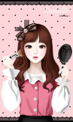 """Lovely Girl"" Art by Korean Artist, Jennie Enakei. Anime Korea, Korean Anime, Sweet Girls, Cute Girls, Korean Illustration, Girly M, Lovely Girl Image, Cute Girl Drawing, Cute Cartoon Girl"