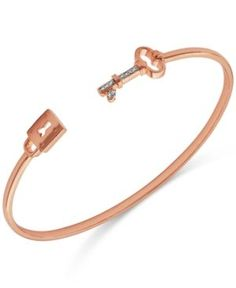 Diamond Accent Lock and Key Cuff Bracelet in Rose Gold-Plated Sterling Silver - Gold