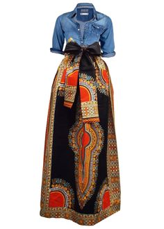 Dashiki African Print Maxi Skirt (Black Orange) African Inspired Fashion b6700c1545a8