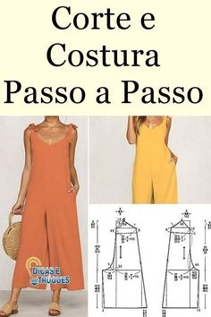 Corte e costura passo a passo sheving сшить платье, швейный, Sewing Pants, Sewing Clothes, Diy Clothes, Jumpsuit Pattern, Pants Pattern, Dress Sewing Patterns, Clothing Patterns, Sewing For Beginners, Jumpsuits For Women