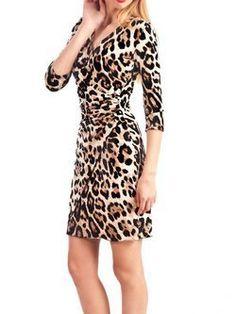 la mode en imprimé animal - robe - portefeuille - cache-coeur - panthère - léopard - autre coloris - CpourL.fr Wrap Dress, Colon, Dresses With Sleeves, Long Sleeve, Fashion, Animal Print Style, Trendy Outfits, Other, Gowns