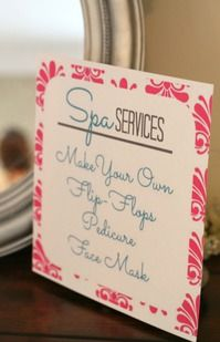 spa party ideas for girls birthday | Spa Party - Spa Services Sign by PartiesforPennies.com | Party Ideas