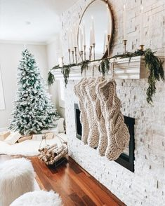 33 Creative Winter Decoration Ideas For Your Home - Over summer we include our home's gardens and outdoor living spaces in our lifestyle as much as possible. But in winter we turn to the interior of our. Christmas Time Is Here, Christmas Mood, Merry Little Christmas, All Things Christmas, Christmas Inspiration, Home Decor Inspiration, Christmas Bedroom, Winter Bedroom, Christmas Fireplace