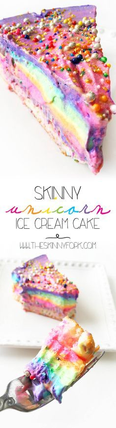 Check out this Skinny Unicorn Ice Cream Cake to add some much needed color, sparkle, and joy to your day! Don't worry, this ice cream cake is super easy to make using @The Curious Creamery Ice Cream Cake Mix! #Ad #CuriousCreamery TheSkinnyFork.com | Skinny & Healthy Recipes