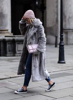 Grey Long Oversized Faux Fur Coat (aylinkoenig)