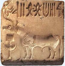 The Harappan seal in the above picture is possibly the most distinctive artefact of the Harappan or Indus valley civilisation. Made of a stone called steatite, seals like this one often contain animal motifs and signs from a script that still remains undeciphered.The above seal shows unicorn figure of Indus Valley culture. Whether it designates a real or mythical animal is unknown. Yet a great deal about the lives of the people who lived in the region