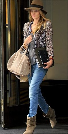 Jacket & Boots- Isabel Marant, Hat -Rag & Bone, Bag - Alexander Wang