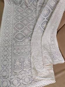 Handmade Saree with Feather Trim and Ivory Beaded Hand embellishments Lehenga Saree