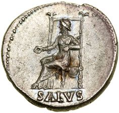 Lot 3123  Nero. Silver Denarius (3.47 g), AD 54-68. Rome, ca. AD 66/7. NERO CAESAR AVGVSTVS, laureate head of Nero right, sporting slight beard. Reverse : SALVS in exergue, Salus seated left, holding patera. RIC 60; WCN 60; BMC 90; RSC 314. Goldberg Coins and Collectibles