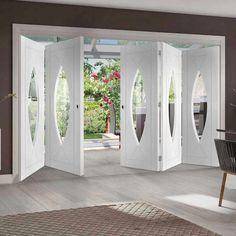 Thrufold Pesaro Flush 3+2 Folding Door - Clear Glass - White Primed - Lifestyle Image.  #whitedoors #bifolddoors