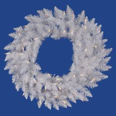Vickerman 36 inch Sparkle White Spruce Artificial Christmas Wreath with 100 Warm White LED Lights Pre Lit Wreath, Lighted Wreaths, White Led Lights, White Light, Pure White, White Spruce, Artificial Christmas Wreaths, Seashell Wreath, Fabric Wreath