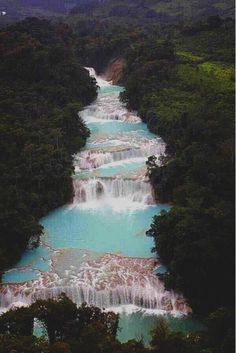 "Agua Azul - Palenque, Mexico- The Cataratas de Agua Azul (Spanish for ""Blue-water Falls"") are found in the Mexican state of Chiapas. Places Around The World, Oh The Places You'll Go, Places To Travel, Places To Visit, Around The Worlds, Travel Destinations, Dream Vacations, Vacation Spots, Vacation List"