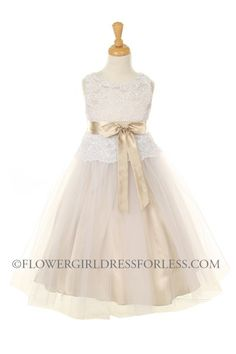 KK_5715CH - Girls Dress Style 5715 - CHAMPAGNE- Tulle Dress with Lace Overlay Bodice - Taupes and Champagnes - Flower Girl Dress For Less