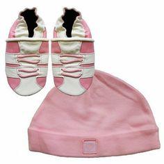 Neue weiche Leder Babyschuhe rosa Turnschuhe und rosa Hut Geschenkset 0-6 Monate…