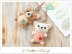 Japanese Wool Felt Kit Chihuahua and Corgi DIY Handmade gift