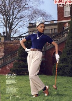 Janelle Monae in cashmere playing croquet