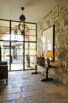Stone entry and steel windows. beautiful homes. home decor and interior decorating ideas. Design Entrée, House Design, Sweet Home, Interior And Exterior, Interior Design, Interior Windows, Foyers, Steel Doors, Windows And Doors