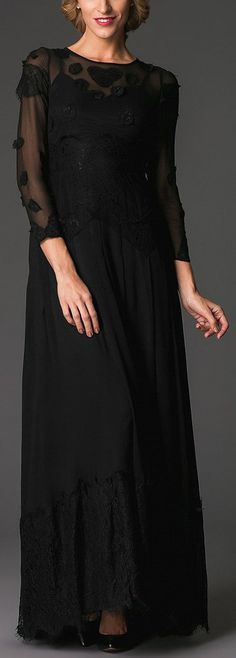 Long Elegant Silk & Lace Evening Dress