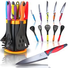 Amazon.com: Kitchen Knife and Utensil Set with Rotating Stand ☆ 11 Pc Kitchen Set with 5 Knives and 5 Utensils in an Attractive Rotating Holder ☆ By Jaguar Kitchen Products ☆ Makes a Fantastic Valentines Gift: Kitchen & Dining