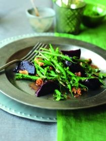 French beans in wild garlic pesto with warm roasted beetroot and walnut salad