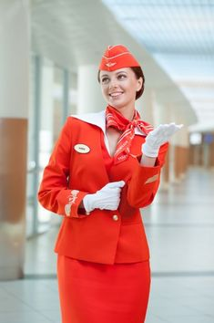 Female Flight Attendant to all red dress Air France, Aeroflot Airlines, Airline Uniforms, Female Pilot, Girls Uniforms, Cabin Crew, Flight Attendant, Nylons, Summer Outfits