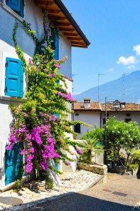 Colorful windows Limone at Lake Garda (Lombardy,Italy)