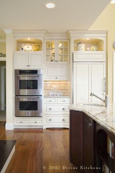 beautiful cabinets that go all the way up.  Love the lighting