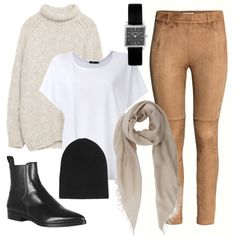 What To Wear – Breeze through security with slip-on boots and easy-to-stash accessories like a beanie and scarf. Stay comfortable and chic in neutral staples like this slouchy sweater, soft tee and stretchy suede leggings. Airport Travel Outfits, Europe Travel Outfits, Airport Style, Winter Travel Outfit, Winter Outfits, Casual Outfits, Suede Leggings, Suede Pants, Travel Clothes Women