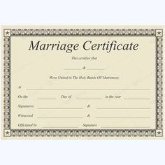 Marriage Certificate BLK) - Get high quality, professionally designed template. Templates are available in Word & PDF Formats. Wedding Certificate, Marriage Certificate, Certificate Design, Certificate Templates, Funny Certificates, Free Printable Certificates, Marriage Cards, Marriage Advice, How To Do Magic