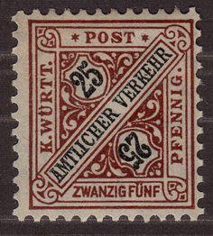 1917, Wurttemberg, Goverment Stamp, 25Pfg, Mi 251, MLH OG