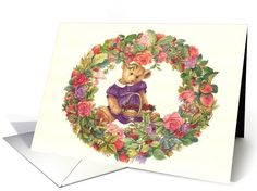 one of my earlier teddy bear series, still a very good design for any occasion, illustrated teddy bear & floral wreath valentine card (337794)