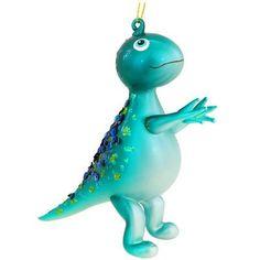 Dinosaur Upright Aqua Glass Ornament