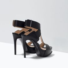 Image 3 of LEATHER PLATFORM SANDALS from Zara