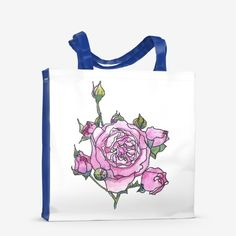 Pink rose flower print bag