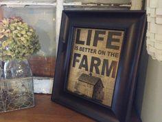 LIFE IS BETTER on the farm - vintage burlap print with barn. $21.00, via Etsy.