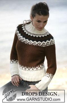 "Milk & Chocolate - Pulli mit 2 Fäden ""Alpaca"" - Free pattern by DROPS Design Hand Knitted Sweaters, Sweater Knitting Patterns, Knit Patterns, Knitting Designs, Fair Isle Knitting, Free Knitting, Tejido Fair Isle, Icelandic Sweaters, Drops Design"