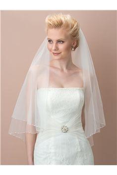 Pretty Beaded Edge Tulle Elbow Wedding Veil