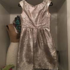 Silver dress Silver fit & flare dress - size SMALL Anthropologie Dresses Mini