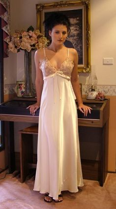 satin nightdresses | glamour long satin nightgown g20 long length satin and lace nightie ...