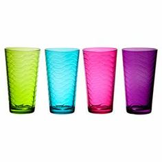 """Highball glass with an embossed wave motif.   Product: Set of 4 highball glassesConstruction Material: GlassColor: Green, blue, pink and purpleFeatures: 17 Ounce capacity eachDimensions: 12.75"""" H x 4.25"""" Diameter"""