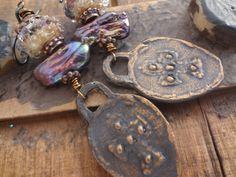 Inviciti Cross Earrings Bohemian Dangle Earrings Stick Pearls Gypsy Soul Earrings Silverfish Designs Artisan Glass Rustic Boho Earring (45.00 USD) by FeminineGenius - handmade - jewelry - jewellery - artisan - etsy