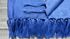 "TRIBEWOOD's LINEN BEACH BLANKET ""LINUM"" Blue"