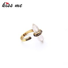 Simple Style Modern Women Clearly Irregular Natural Stone Women Finger Rings Fashion Jewelry